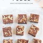 Simple Toasted Coconut Fudge made with just 5 ingredients! This stove-top fudge is made with sweetened condensed milk and doesn't require a candy thermometer. It's so easy to make and tastes amazing! It's the perfect no-bake dessert recipe for coconut lovers. This fudge recipe is naturally gluten free and celiac safe. No-bake desserts from @whattheforkfoodblog.com - visit whattheforkfoodblog.com for more gluten free dessert recipes.