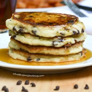 Kelsey's Chocolate Chip Pancakes from What The Fork Food Blog