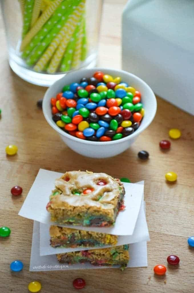 Brown Sugar Blondies with M&M's from What The Fork Food Blog