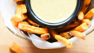 Baked Sweet Potato Fries with Maple Mustard Dipping Sauce