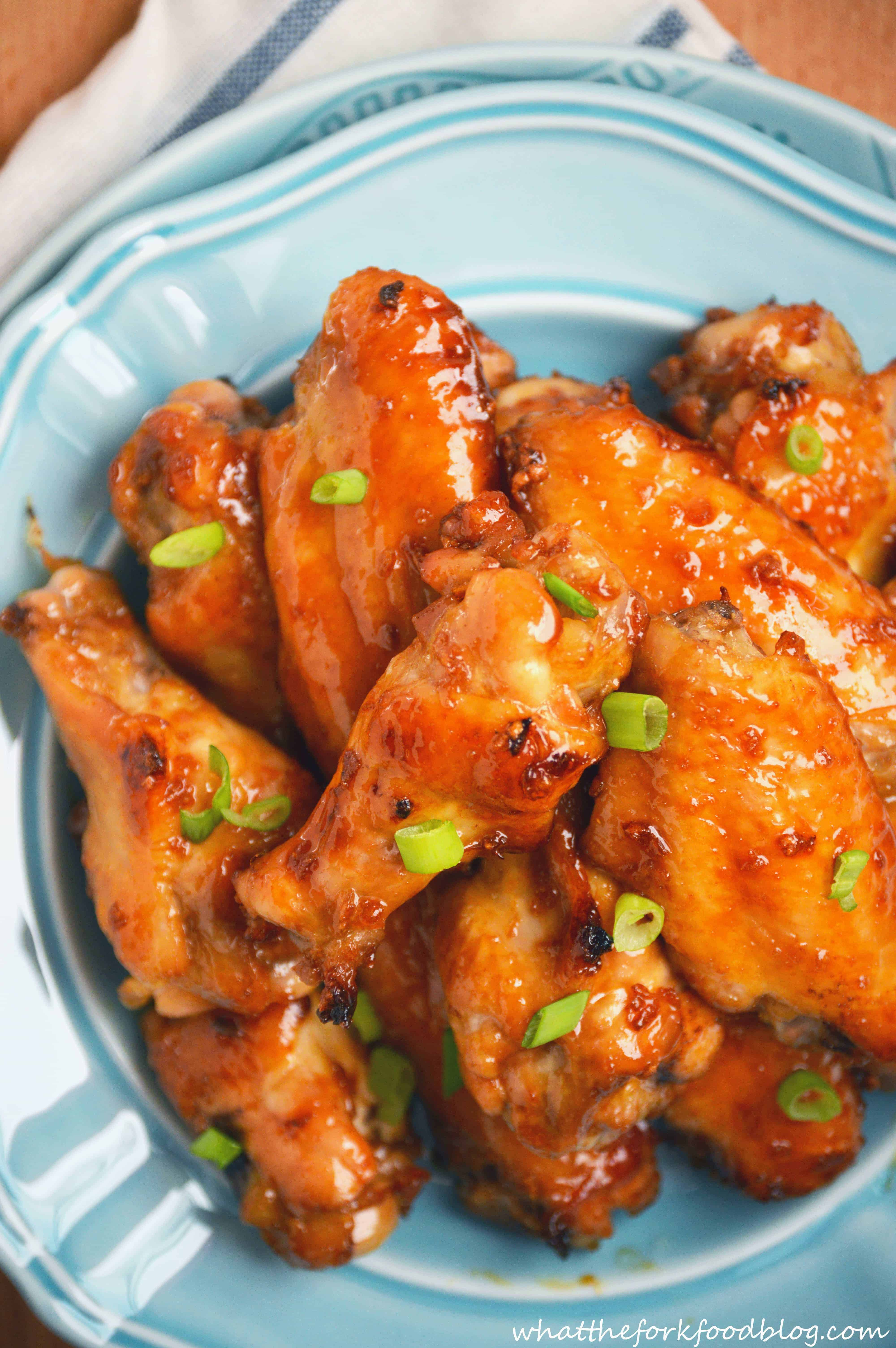 Sticky Asian Garlic Wings from What The Fork Food Blog