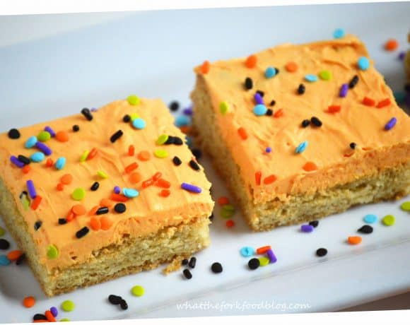 Frosted Sugar Cookie Bars with Halloween Sprinkles