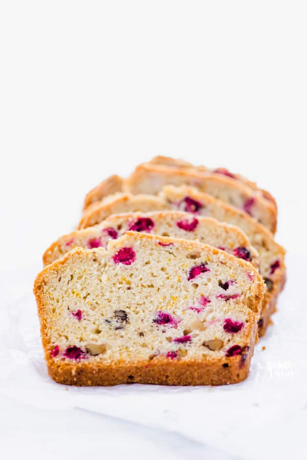 Slices of gluten free cranberry orange bread