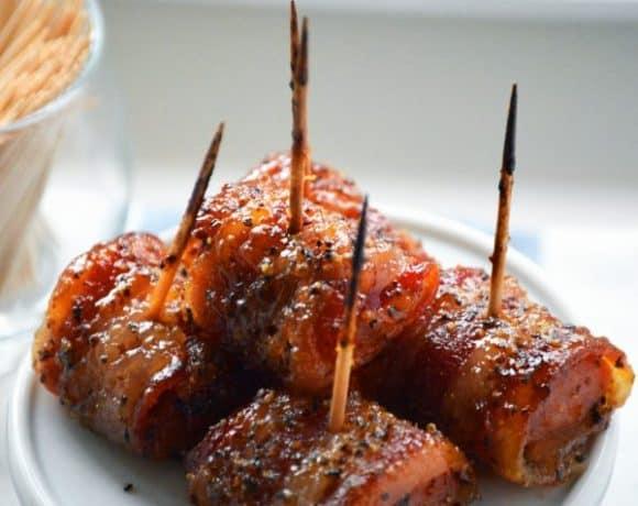 Bacon Wrapped Kielbasa Bites with Brown Sugar Glaze