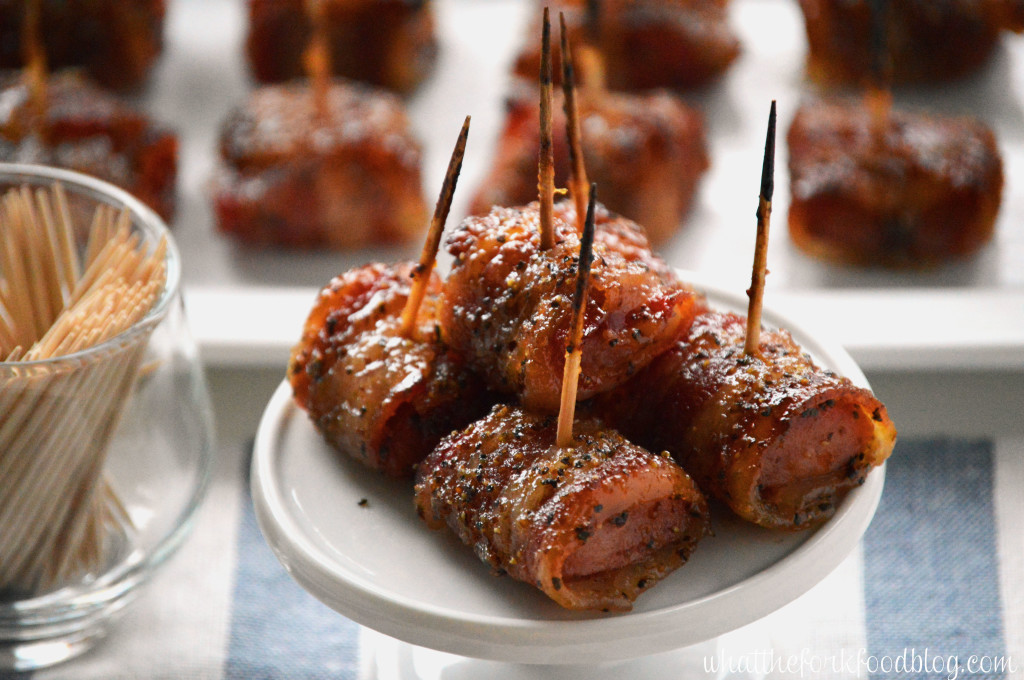 Bacon Wrapped Kielbasa Bites with Brown Sugar Glaze from What The Fork Food Blog