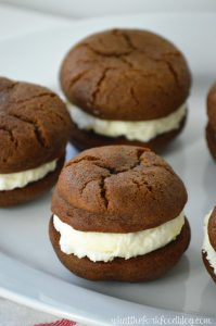 Gingerbread Sandwich Cookies with Vanilla Buttercream from What The Fork Food Blog