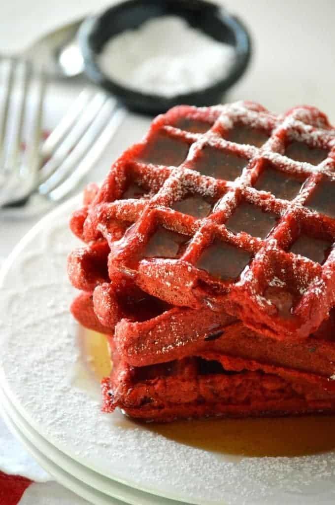Red Velvet Waffles from What The Fork Food Blog