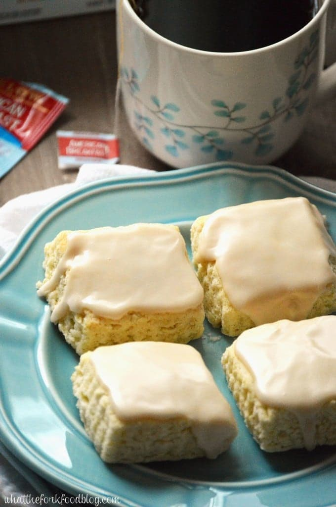 Vanilla Bean Scones with Black Tea Glaze from What The Fork Food Blog