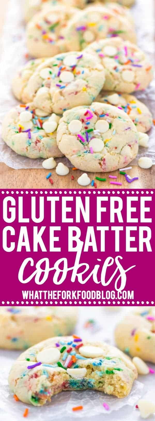 Super easy gluten free cake batter cookies! No chilling time required! Filled with white chocolate chips and loaded with sprinkles, these cookies are crave-worthy! Gluten free cookie recipe from @whattheforkblog | whattheforkfoodblog.com | homemade gluten free cookies | gluten free funfetti cookies | #sprinkles #cookies #funfetti #glutenfree #easyrecipes