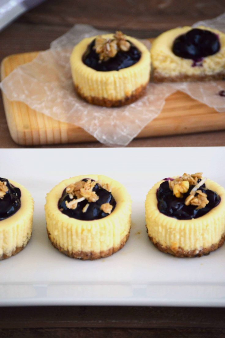 Skinny Mini Blueberry Cheesecakes