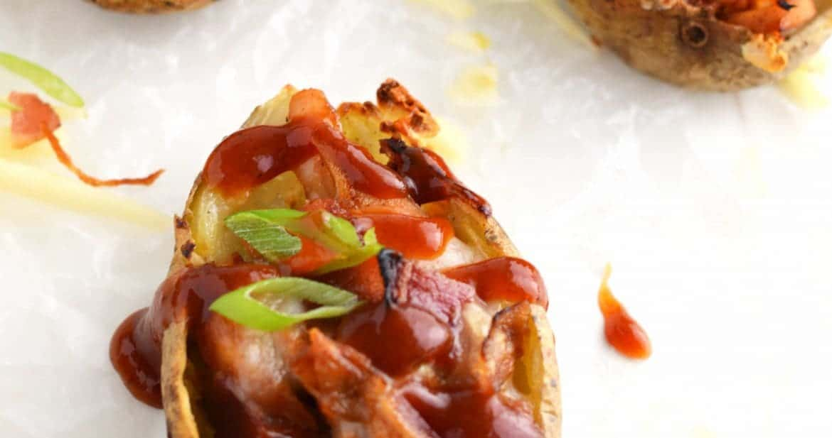 BBQ Chicken Potato Skins from What The Fork Food Blog | @WhatTheForkBlog | whattheforkfoodblog.com