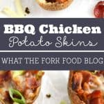 BBQ Chicken Potato Skins from What The Fork Food Blog. Crispy potato skins stuffed with smoky bbq chicken and topped with pepper jack cheese, bacon and scallions. | @WhatTheForkBlog | whattheforkfoodblog.com