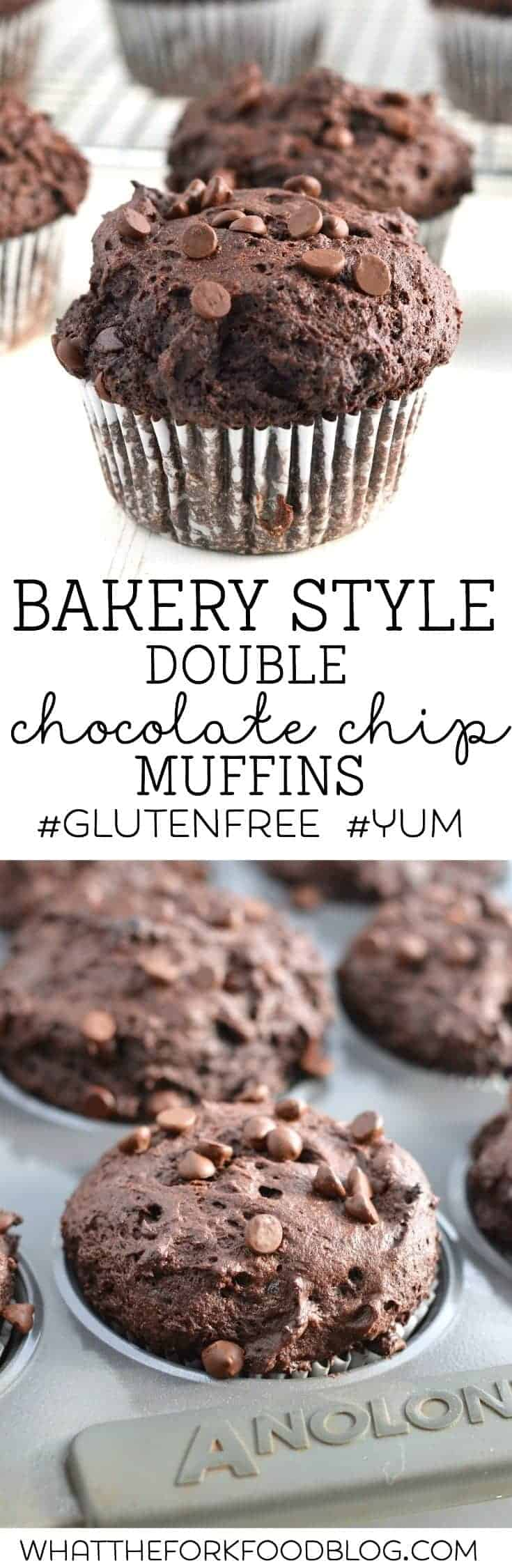 Gluten Free Bakery Style Double Chocolate Chip Muffins from What The Fork Food Blog   @WhatTheForkBlog   whattheforkfoodblog.com