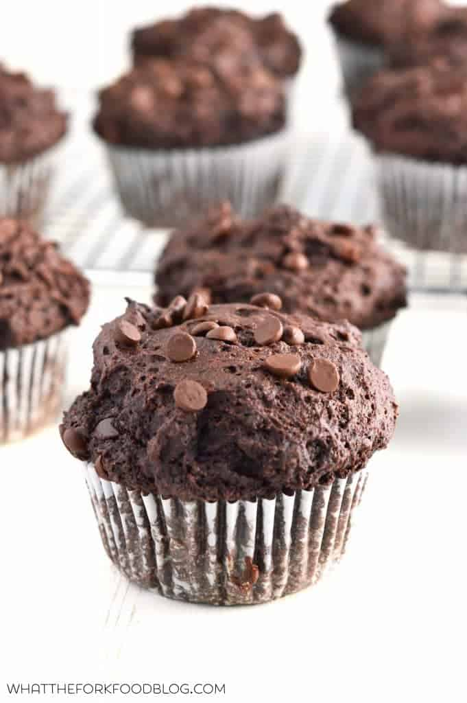 Bakery Style Double Chocolate Chip Muffins are full of deep chocolate ...