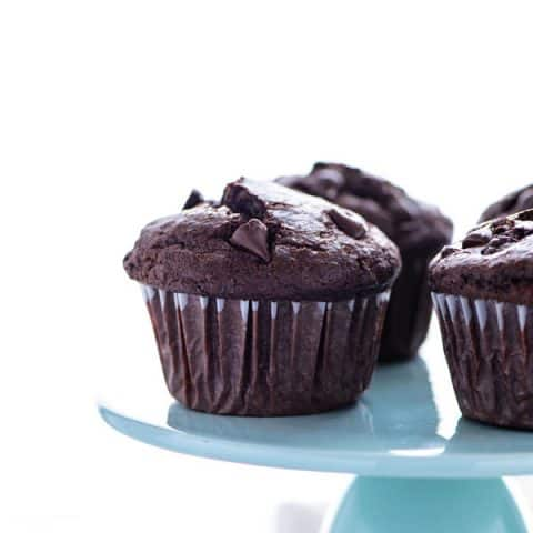 Gluten Free Bakery Style Double Chocolate Chip Muffins