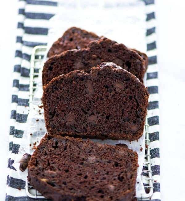 Gluten Free Double Chocolate Zucchini Bread sliced and ready to be served.