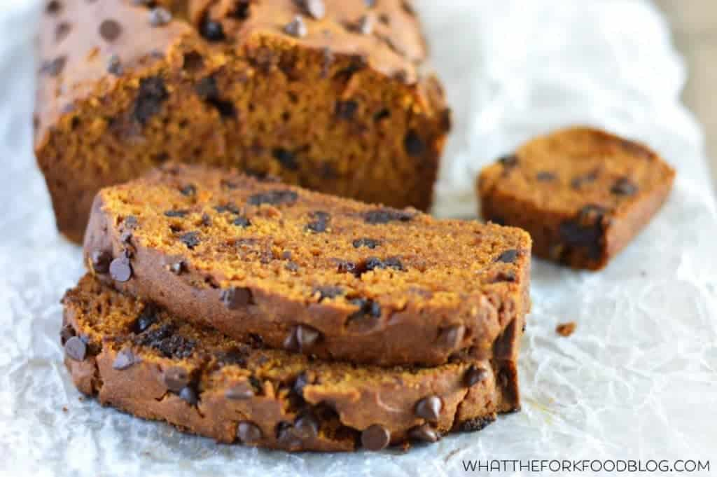 Pumpkin Chocolate Chip Bread (gluten free and dairy free) from What The Fork Food Blog   @WhatTheForkBlog   whattheforkfoodblog.com