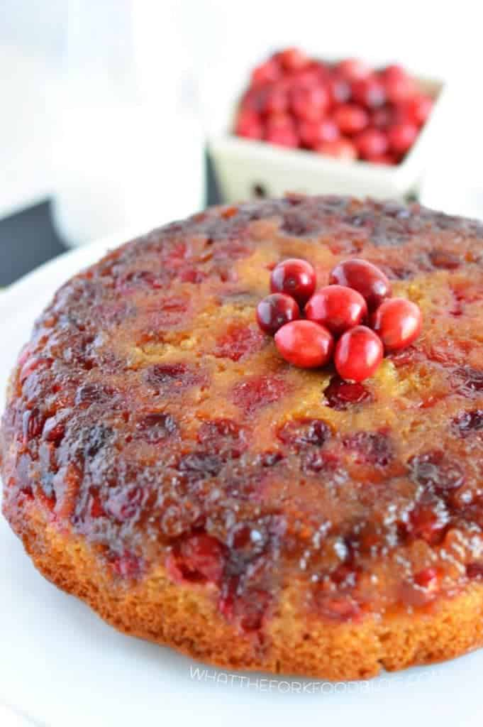 Cranberry Upside-Down Cake from What The Fork Food Blog (gluten free and dairy free) | whattheforkfoodblog.com