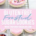 Cut out no chill Gluten Free Frosted Sugar Cookies are a must-make. Frost them and top them with sprinkles for a gluten free dessert recipe that's perfect for a party or for the holidays. You can decorate them with royal icing if you prefer! Gluten free and dairy free cookie recipe from @whattheforkblog - visit www.whattheforkfoodblog.com for more easy gluten free desserts and gluten free cookies! #glutenfree #dairyfree #sugarcookies #frostedsugarcookies #cutoutsugarcookies #glutenfreecookies