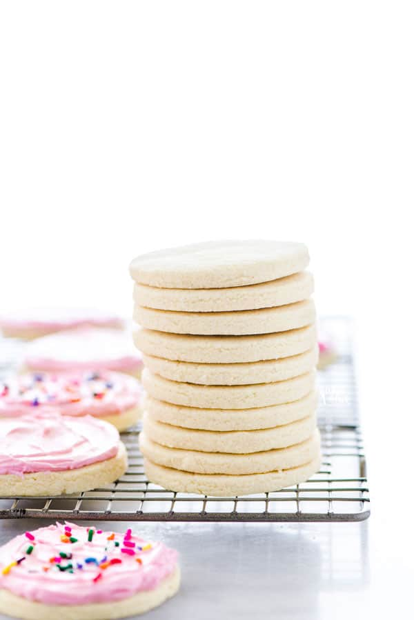 A stack of gluten free sugar cookies