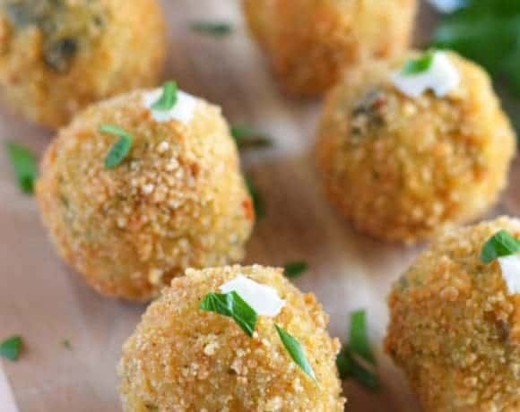Spinach and Artichoke Risotto Balls