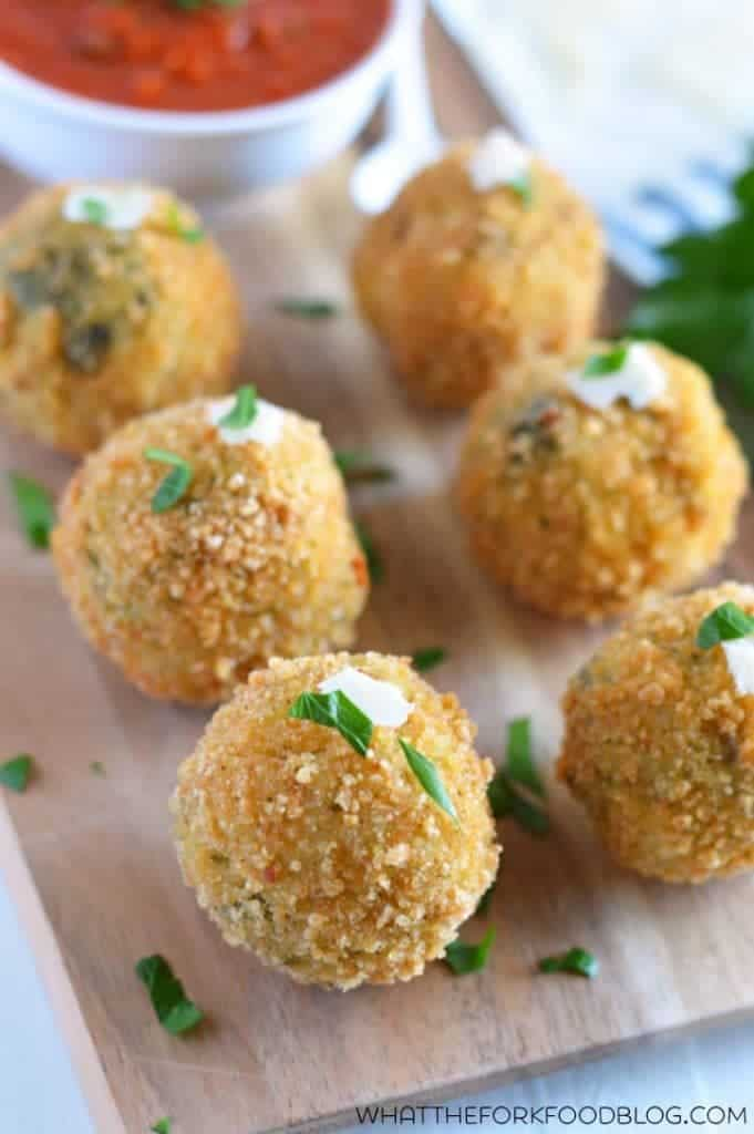 Spinach and Artichoke Risotto Balls from What The Fork Food Blog (gluten free) | whattheforkfoodblog@gmail.com