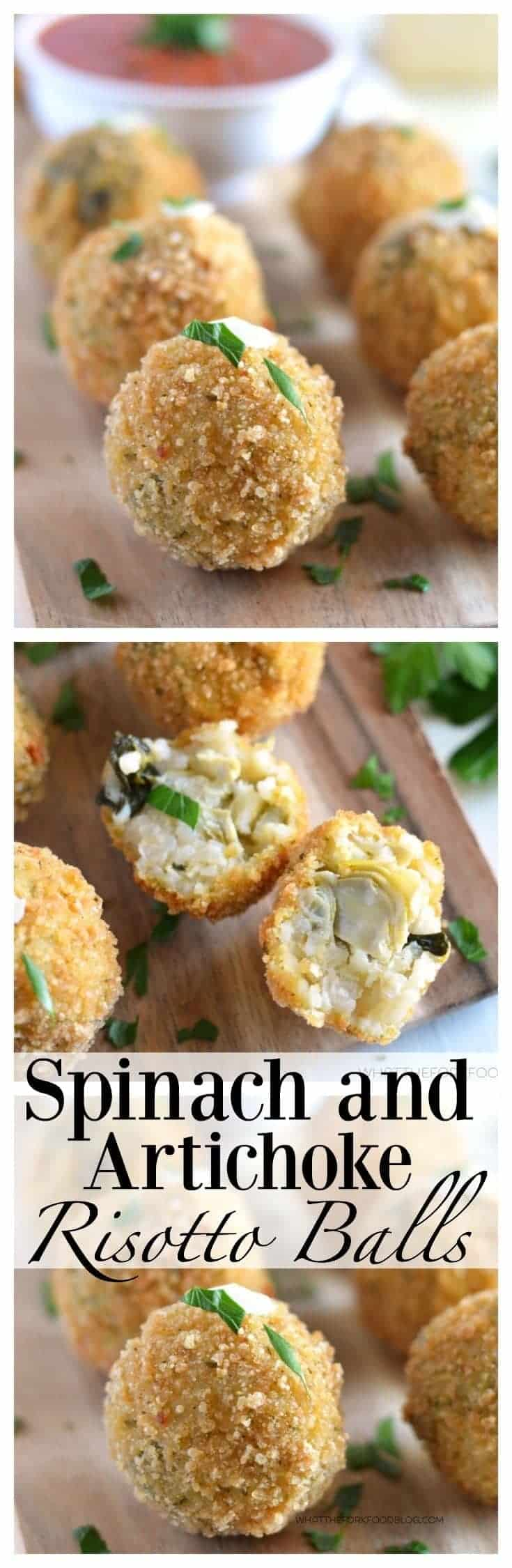 Crispy Fried Spinach and Artichoke Risotto Balls (gluten free) from What The Fork Food Blog | whattheforkfoodblog.com