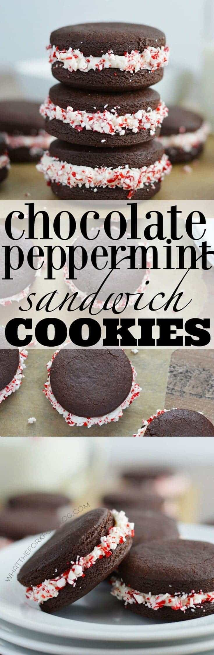 Chocolate Peppermint Sandwich Cookies (gluten free and dairy free) from What The Fork Food Blog   whattheforkfoodblog.com