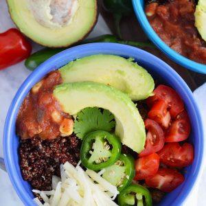 Gluten Free Beef and Quinoa Taco Bowls from What The Fork Food Blog. These healthy taco bowls are an easy and tasty weeknight dinner. They're also great for meal prepping. | whattheforkfoodblog.com