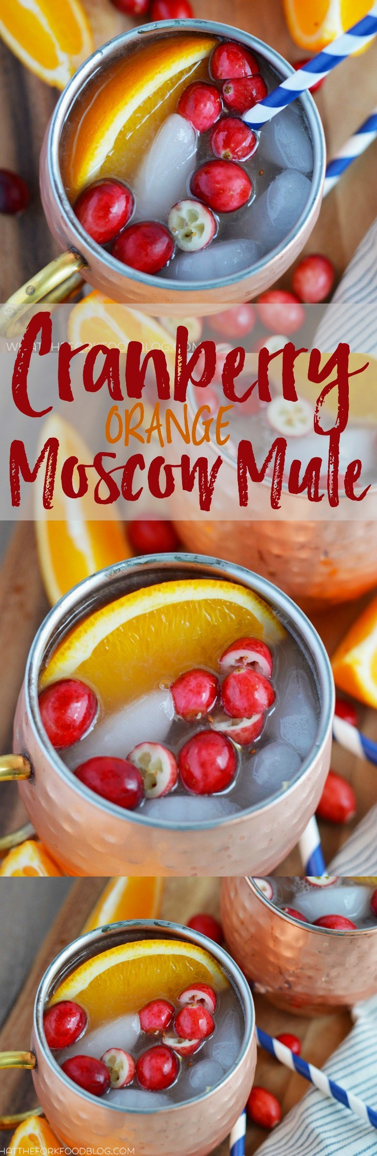 Cranberry Orange Moscow Mule from What The Fork Food Blog. A twist on the classic Moscow Mule, perfect for drinking all winter long. | whattheforkfoodblog.com #MoscowMule #Christmas #Thanksgiving #cocktails