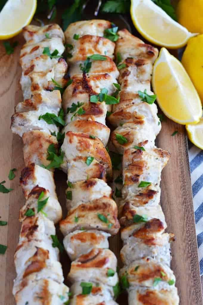 Three-Ingredient Lemon Garlic Chicken Skewers from What The Fork Food Blog. These skewers are paleo, Whole30, easy, and are perfect meal-prep. | whattheforkfoodblog.com