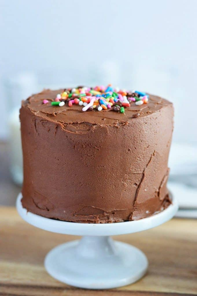 Mini Chocolate Layer Cake Recipe from What The Fork Food Blog. These gluten free and dairy free cakes are the perfect small batch dessert for those with special dietary needs. They're also the perfect size for cake smash sessions. | whattheforkfoodblog.com