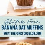Gluten Free Banana Muffins get an upgrade! Gluten Free Banana Oat Muffins with Oatmeal Streusel are your new favorite breakfast. Quick to make, delicious to eat - these gluten free muffins are 100% satisfying. Muffins are an easy breakfast to prep for weekday mornings, they're freezer friendly, and they're great for snacks too. Serve them for brunch with eggs and fresh fruit! Gluten free muffin recipe from @whattheforkblog - visit whattheforkfoodblog.com for more gluten free breakfast recipes!
