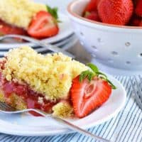 Gluten Free Strawberry Rhubarb Coffee Cake #SundaySupper