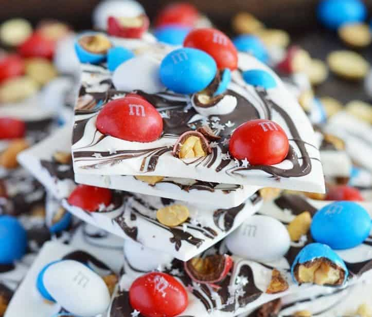 Easy Patriotic Bark with Peanut M&M's from What The Fork Food Blog. Perfect for Memorial Day or 4th of July. | whattheforkfoodblog.com
