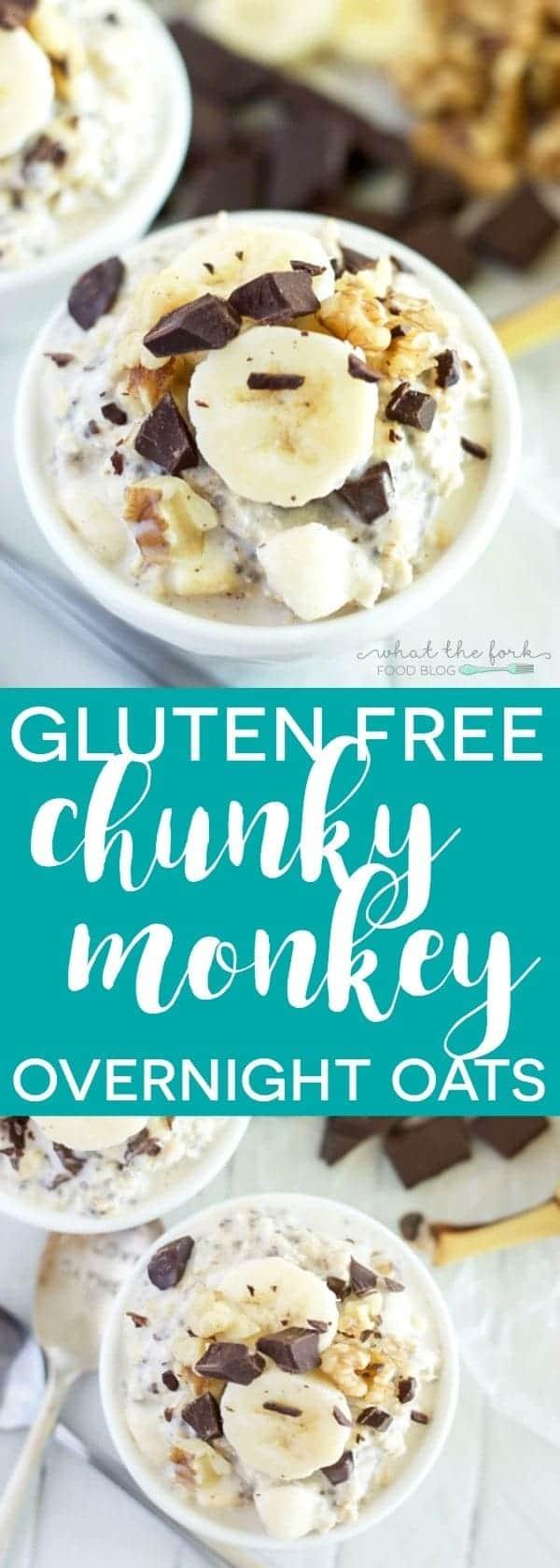 Gluten Free Chunky Monkey Overnight Oats from @whattheforkblog | whattheforkfoodblog