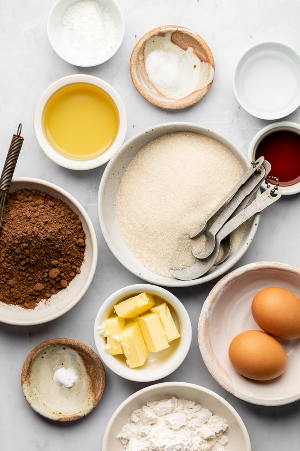 ingredients for fudgy gluten free brownies