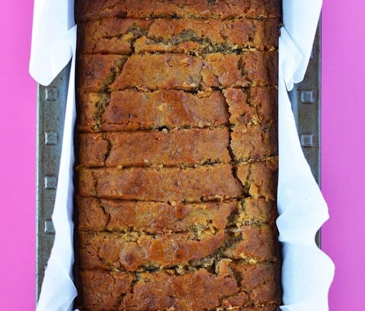 Gluten Free Pumpkin Banana Bread (dairy free too!) is the best fall quick bread recipe ever! Easy gluten free bread recipe from @whattheforkblog | whattheforkfoodblog.com | gluten free dairy free pumpkin | gluten free pumpkin bread | how to make pumpkin banana bread | easy pumpkin recipes | recipes with pumpkin | banana bread recipes | gluten free quick bread recipes | gluten free breakfast recipes | easy gluten free recipes | dairy free recipes | leftover pumpkin