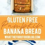 This wildly popular Gluten Free Pumpkin Banana Bread is a mix of two popular quick bread recipes - pumpkin bread and banana bread! Your fall baking starts here! This recipe can be made dairy-free or with regular milk. This easy gluten free quick bread recipe is from @whattheforkblog - visit whattheforkfoodblog.com for more! #glutenfree #dairyfree #fallbaking #pumpkin #pumpkinrecipes #easyrecipes #glutenfreebaking #fallrecipes #Fall #pumpkinbread #bananabread #pumpkinbanana #quickbread #bread