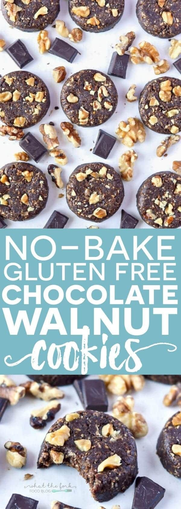 Super easy no-bake Gluten Free Chocolate Walnut Cookies (dairy free + naturally sweetened). Recipe from @whattheforkblog | whattheforkfoodblog.com