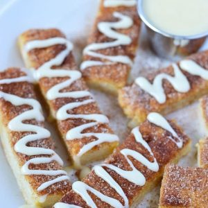 Gluten Free Cinnamon Sticks with cream cheese dipping sauce (dairy free). Recipe from @whattheforkblog | whattheforkfoodblog.com