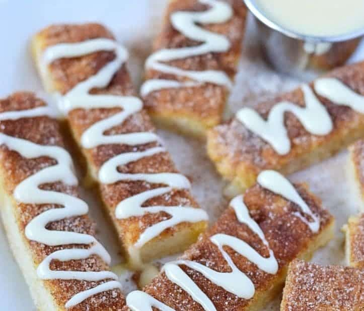 Gluten Free Cinnamon Sticks with cream cheese dipping sauce (dairy free). Recipe from @whattheforkblog | whattheforkfoodblog.com