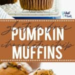 Gluten free Pumpkin Chocolate Chip Muffins make the perfect Fall breakfast. Full of pumpkin flavor and warm spices, these muffins pair nicely with a cup of coffee or hot tea. You can make them ahead and freeze for quick weekday breakfasts or make them for lazy Saturday breakfasts or Sunday brunch. Gluten Free Muffins recipe from @whattheforkblog - visit whattheforkfoodblog.com for more! #glutenfree #breakfast #muffins #glutenfreemuffins #pumpkin #pumpkinmuffins #pumpkinrecipes #chocolatechip