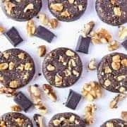 Super easy no-bake Gluten Free Chocolate Walnut Cookies (dairy free + naturally sweetened). Recipe from @whattheforkblog | whattheforkfoodblog.com