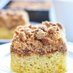 Gluten Free Cinnamon Coffee Cake is perfect for brunch or make-ahead breakfast. Recipe from @whattheforkblog | gluten free and dairy free | whattheforkfoodblog.com