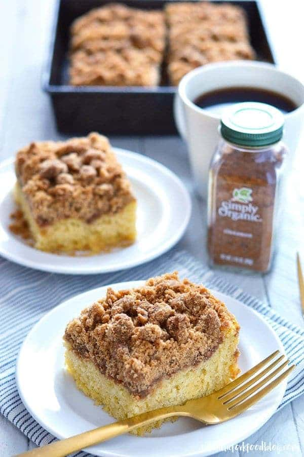 Gluten Free Cinnamon Coffee Cake is perfect for breakfast of brunch any time of the year. (gluten free and dairy free) | Recipe from @whattheforkblog | whattheforkfoodblog.com