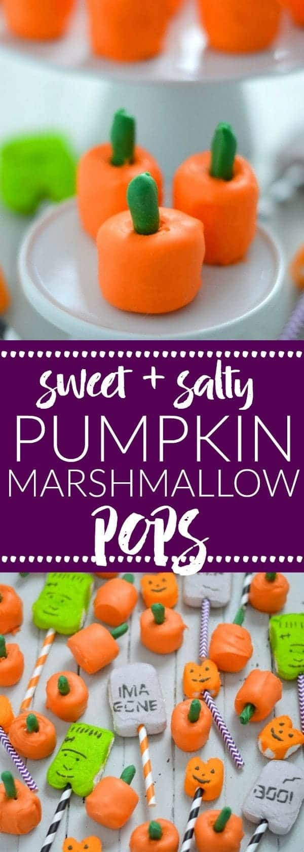 Sweet and Salty Pumpkin Marshmallow Pops are perfect for Halloween or Thanksgiving. Made with just 3 ingredients! Recipe from @whattheforkblog   whattheforkfoodblog.com