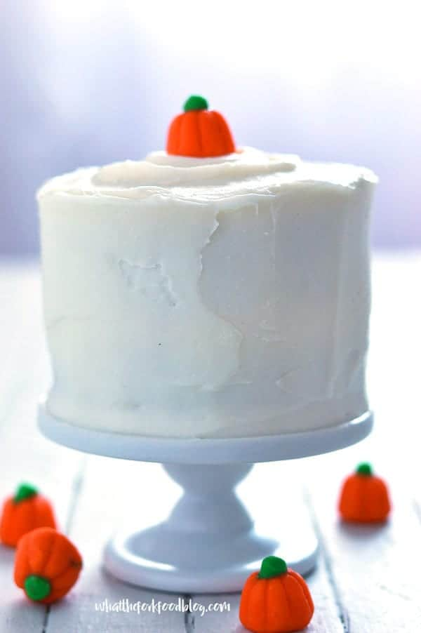 Gluten Free Mini Pumpkin Layer Cake recipe from @whattheforkblog | whattheforkfoodblog.com | sponsored by Celestial Seasonings | gluten free and dairy free | gluten free cake | dairy free cake | gluten free desserts | gluten free pumpkin cake | gluten free pumpkin recipes | recipes with pumpkin | recipes for leftover pumpkin | pumpkin recipes | easy pumpkin recipes | small batch recipes | mini cakes | how to make mini cakes | how to make pumpkin cake | how to make cake in a ramekin
