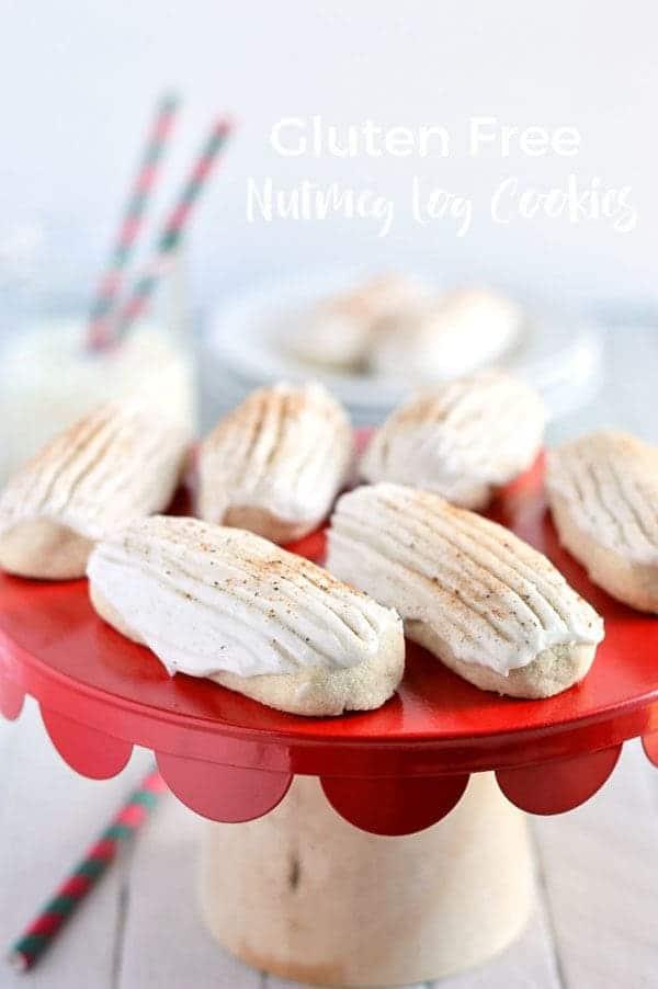 Easy Gluten Free Nutmeg Log Cookies make a great holiday treat. gluten free cookie recipe from @whattheforkblog | whattheforkfoodblog.com | Christmas cookies | nutmeg cookies | traditional Christmas cookies | cookie recipes | easy cookie recipes | how to make nutmeg log cookies | cookies for gifts | homemade gifts | edible gifts | gluten free Christmas cookies | frosted cookies | rum cookies