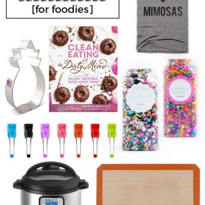 A great holiday gift guide for foodies! Everything you need from cookbooks, an Instant Pot, sprinkles, kitchen tools, food-themed apparel and more! From @whattheforkblog | whattheforkfoodblog.com